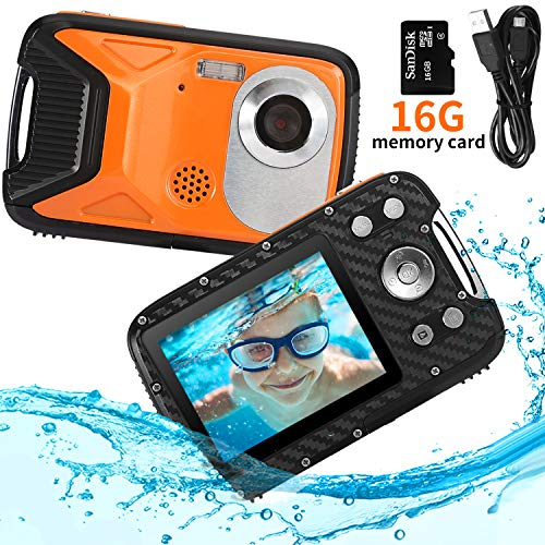 Waterproof Camera FHD 1080P Underwater Camera 21MP Waterproof Digital Camera 8X Digital Zoom Digital Camera for Snorkeling 5.0 Meter Completely Sealed 2.8 Inch TFT-LCD Screen(Orange + 16G SD)