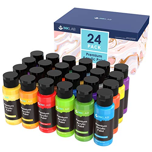 Acrylic Paint Set Non Toxic 24 Vibrant Colours Acrylic Craft Paints Rich Pigment for Kids Adults Artists Beginners Canvas Ceramic Wood Crafts Painting