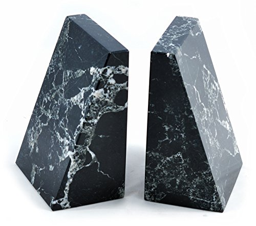 Himalayan Marble Bookends (Black Marble Wedge Bookends)