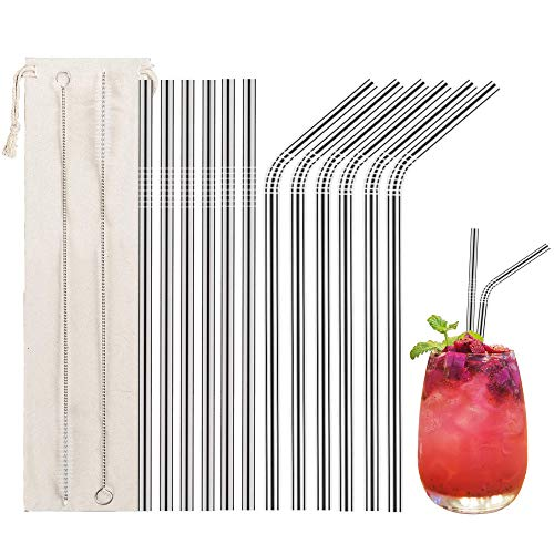 LessMo 12 Pcs Stainless Steel Straws,Reusable Metal Drinking Straws with 2 Cleaning Brush for Smoothie, Milkshake, Cocktail and Hot Drinks