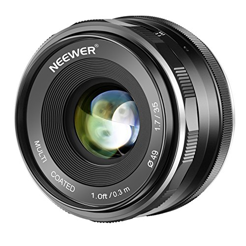 Neewer 35mm F1.7 Large Aperture APS-C Manual Focus Prime Fixed Lens, Compatible with Canon EF-M EOS-M Mount Mirrorless Cameras, Including Canon EOS M M2 M3 M5 M6 M10 M50 M100, etc