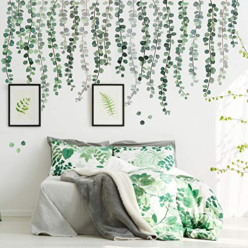 Green Plants Eucalyptus Vine Leaves Wall Decal Removable Watercolor Wall Art Decor Peel and Stick Wall Sticker Art Murals Decoration for Home Nursery Decor Living Room (3 Sheets,11.8 x 23.6 Inch)