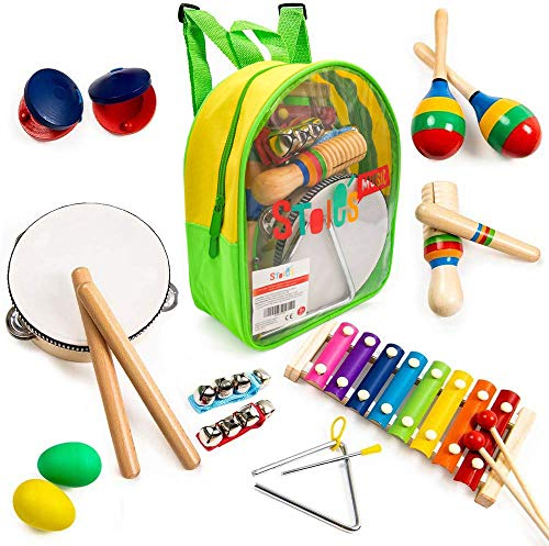 Stoie's- 17 Piece Musical Instrument Set for Toddlers, Preschool Children & Kids– Wooden Percussion Toys and Rhythm Instruments - Xylophone, Drum - Promotes Early Development - Backpack Included