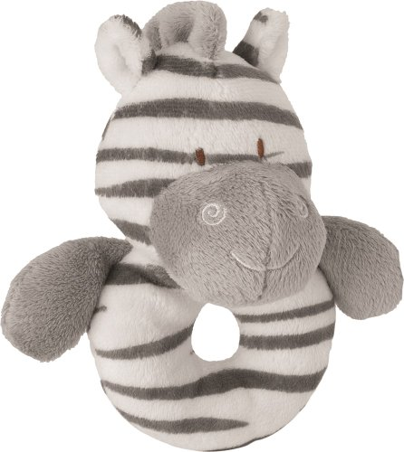 Suki Baby Zooma Soft Boa Plush Baby's Ring Rattle with Embroidered Accents (Zebra)