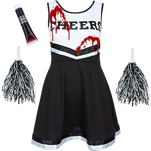 Zombie Cheerleader Costume Outfit with POM POMS - Fancy Dress Costume Sports HIGH School Musical Halloween Outfit - 6 Colours/Size 6-16 (6-8 UK, Black)
