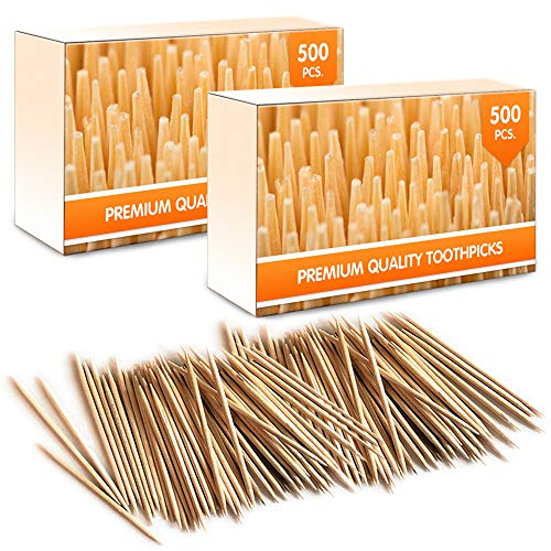 Mobi Lock Premium Bamboo Wooden Cocktail Toothpicks | Perfect for Everyday Use – Personal Hygiene, Cocktail Sticks or Arts & Crafts | Comes in 1000 pieces (2 Tubs of 500 pieces)