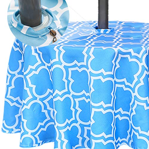 Eternal Beauty 152cm Round Blue Plaid Indoor Outdoor Waterproof Tablecloth with Umbrella Hole and Zipper for Patio Garden Party and BBQ(60 Inch)