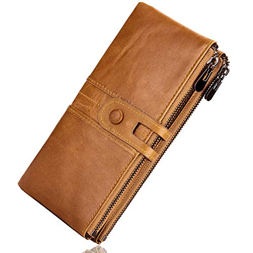 ROULENS Genuine Leather Women's Wallets,Multi-Function Slim Bifold Zipper Clutch Purse,Large Capacity Card Holder with RFID (Brown)