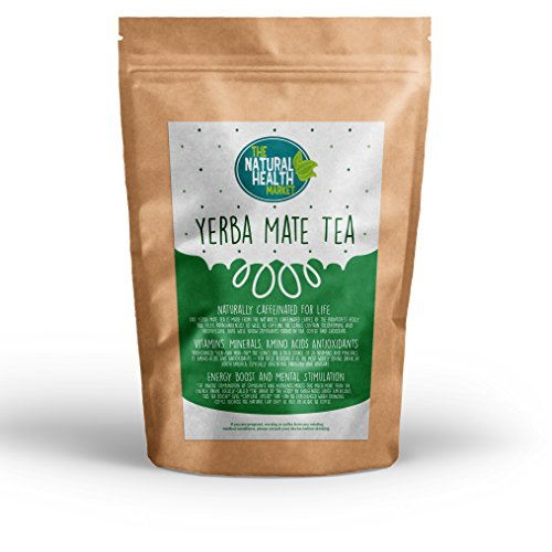 Yerba Mate Tea Bags by The Natural Health Market 50 Bags • A Powerful Stimulant Containing Natural Vitamins & Mineral • Mate Cafe Quality Tea Bags for Home • Caffeine Strength Without The Jitters!