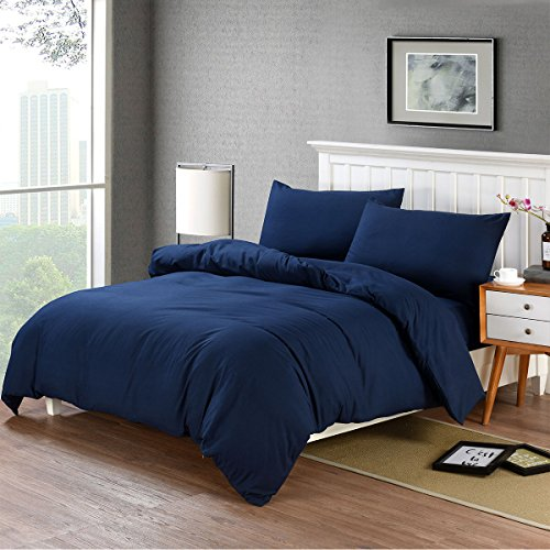 RUIKASI 4PCS Duvet Covers Sets Double Bed with Extra Fitted Sheet, Non-Iron Wrinkle Fade Stain Resistant Bedding Set (Blue, 4PC Double)