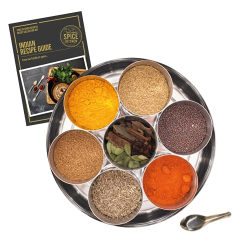 Spice Kitchen Premium Indian Spice Collection with 9 Cooking Spices including Award-Winning Garam Masala, Stainless Steel Storage Tin and Spice Serving Spoon