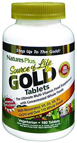 NaturesPlus Source of Life Gold Tablets - High Potency Whole Food Based Multivitamin and Minerals for Natural Energy and Immune Support - Vegetarian, Dairy and Gluten Free - 180 Vegetarian Tablets
