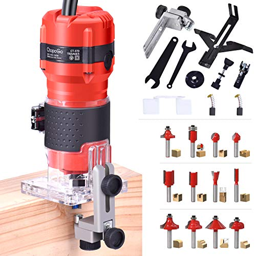 CtopoGo Compact Wood Palm Router Tool Hand Edge Trimmer Woodworking Joiner Cutting Palmming Tool 30000R/MIN 800W 220V with 12PCS 1/4