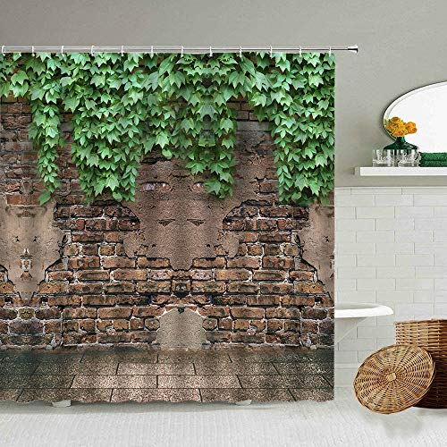 Green Ivy Old Stone Wall Shower Curtain Garden Potted Flower Plants Bathroom Waterproof Photography Background Screen With Hook