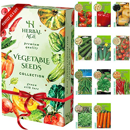 Grow Your Own Seed Kit - 11 Vegetable Seed Varieties, 3500 Heirloom Seeds Ready to Grow - Vegetable Growing Kit for Women, Kids, Beginners, Gardeners Gift - Carrot, Onion, Courgette, Spinach, Tomato