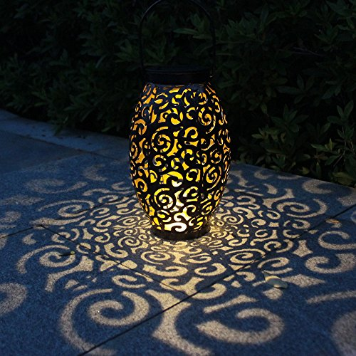 Tomshine Solar Lantern Lights Garden Lights Solar Powered with Handle Outdoor Hanging Solar Lights for Courtyard