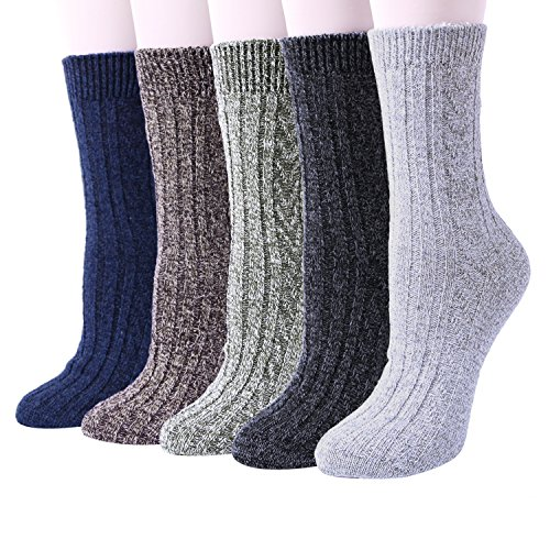 5 Pairs Womens Thermal Wool Socks Warm Knit Ladies Socks for Winter, One Size, A10