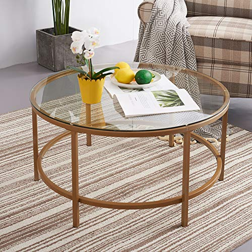 PALDIN Vintage Coffee Table Gold Finish Frame Round Glass Top Side Table Living Room (90CM)