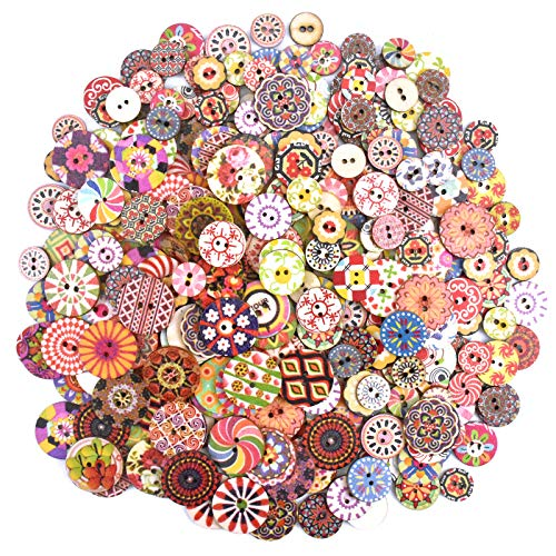 Skyzone 300Pcs Round Wooden Buttons,Retro Crafting Buttons Colorful Wooden Buttons Decorative Buttons Mixed Colors and Sizes for Arts Craft Sewing DIY Decoration (15mm,20mm and 25mm 100Pcs Each)