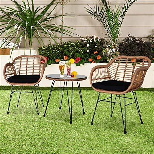 Garden Furniture Set, 3 Piece Wicker Rattan Garden Chair Table, Faux Rattan Bistro Set of 2 Armchairs with 2 Cushions + 1 Table with Tempered Glass (Garden Furniture Set of 3)