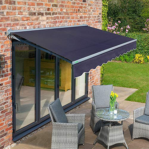 Primrose 2.5m x 2m Manual Half Cassette Garden Charcoal Cassette Awning Complete with Fixings and Winder Handle (Dark Blue)