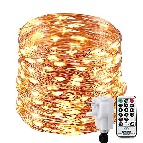Copper Wire Fairy Lights 22M 200 LED Warm White Plug in, NEXVIN String Lights Mains Powered with Remote Control & Timer, 8 Modes for Bedroom Indoor Outdoor Garden Christmas Tree Decorations