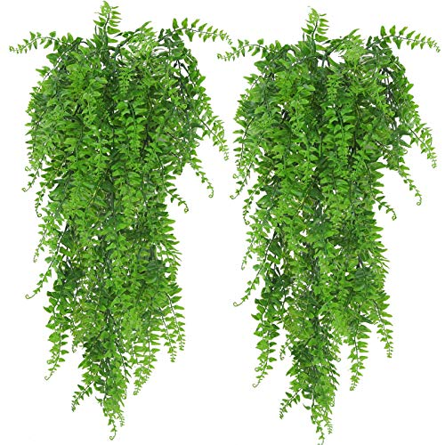 Huryfox 2 Pack Artificial Hanging Plants Fake Ivy Leaves Wall Decoration for Indoor Outdoor, Greenery Home Decor Faux Vine for Living Room & Garden/Bedroom/Farmhouse Aesthetic Decorations