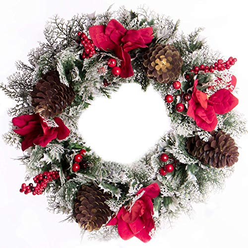 Frosted Christmas Wreath | Xmas Wreath Decorations | Holly Wreaths | For Doors | Hanging Door Wreath Decoration | Artificial Design | Festive Wreath | Pukkr