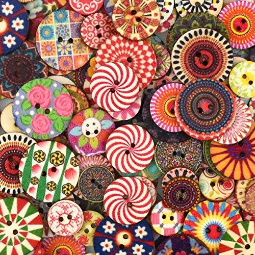 100 Pcs Wooden Buttons Mixed Round Assorted Colorful Retro Buttons Flower Geometric Painting Wood Sewing Button Crafting Buttons with 2 Holes for DIY Handmade Arts Knitting Sewing Decoration 20 mm