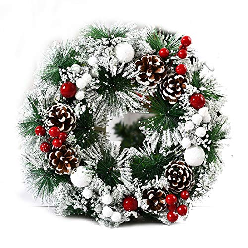 Youngshion 30cm Christmas Artificial Front Door Wall Hanging Rattan Wreath Holiday Party Home Tree Decor with Bowknot Jingle Pine Cones or Snowflakes (F)