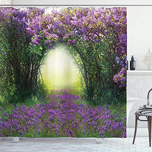 YUAOEUR Lavender Garden 3D Shower Curtain Magic Misty Sun Rays Forest Blossoms Bushes Tall Trees Green Grasses Scenery Bathroom Decoration Curtains with Hook 71X 71 inch Green Purple