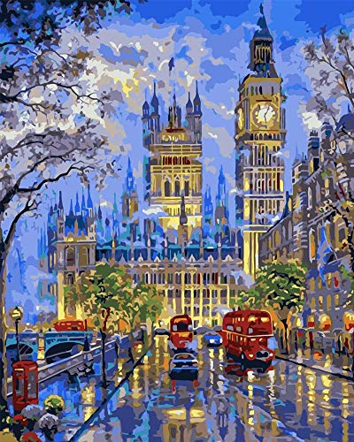 WJGJ Paint by Number Kits, DIY Oil Painting Works London Street for Adults Kids Beginner 40 x 50cm (Without Frames)