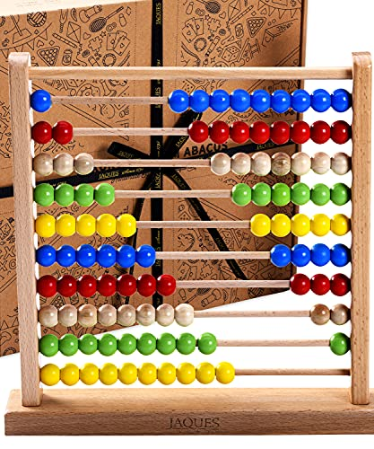 Jaques of London Large Wooden Abacus | Premium Abacus for Kids With Counting Beads | 100% Wooden Educational Toys | Quality Learning Toys | Since 1795