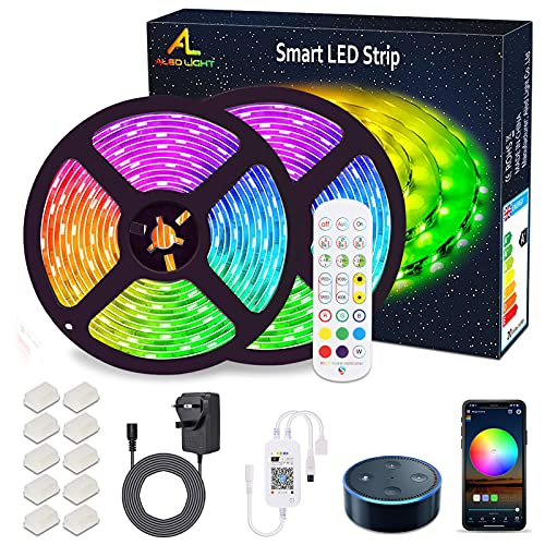 10M Alexa LED Strip Lights with Remote Waterproof WiFi RGB Colors Changing Smart Led Light Strips Music Sync APP Control WorkwithAlexa Strips Light for Bedrooms Bar Birthday Party