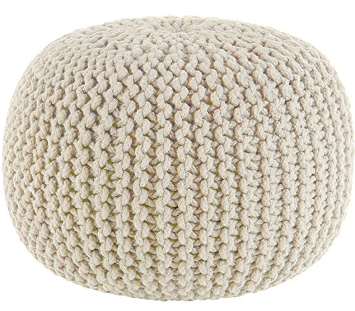 Sweet Needle - Hand Knitted Twisted Cable Style Round Dori Pouf, Floor Ottoman, Ivory, Cotton Braid Cord - Handmade & Hand Stitched - Comfortable Seat Footstool - 50 cm Diameter x 35 cm High