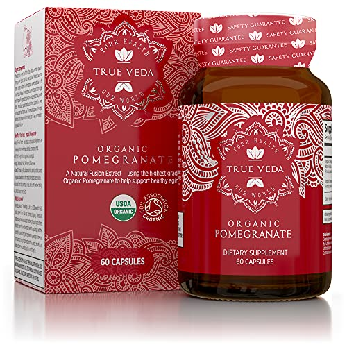 Organic Pomegranate Capsules - Certified Organic by Soil Association   Vegetarian & Vegan Friendly   Ayurveda   60 Easy Swallow Pomegranate Tablets   Manufactured in The UK