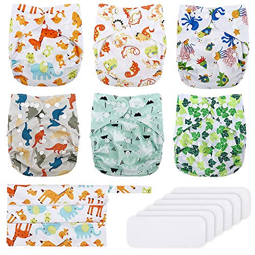 Reusable Nappies, Exqline Reusable Washable Baby Pocket Cloth Nappy Diapers, 6PCS Adjustable Nappies + 6PCS Inserts with 1 Storage Bag for Most Babies and Toddlers 3-15kg, Soft, Breathable