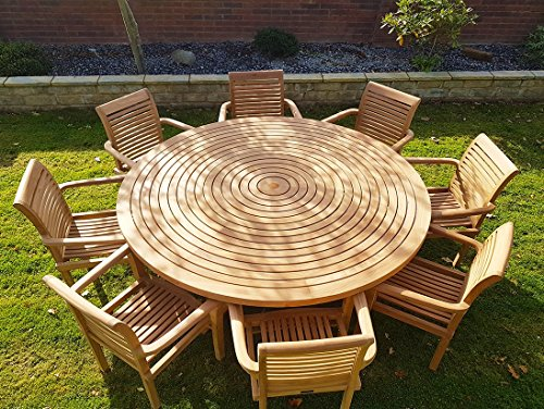 chelsea home and leisure ltd teak garden furniture round table lazy susan 8 stacking chairs