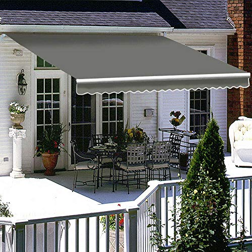iropro DIY Patio Retractable Manual Awning, Gazebo Outdoor Canopy, Garden Sun Shade Shelter with Fittings and Crank Handle (2x1.5M, Grey)