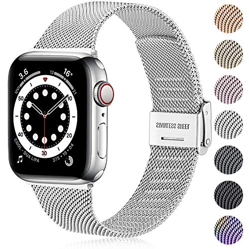 Ouwegaga Compatible With Apple Watch Strap 38mm 40mm 41mm 42mm 44mm 45mm, Stainless Steel Metal Straps Compatible with iWatch Strap Series 7 6 5 4 3 2 1 SE, 38mm/40mm/41mm Silver