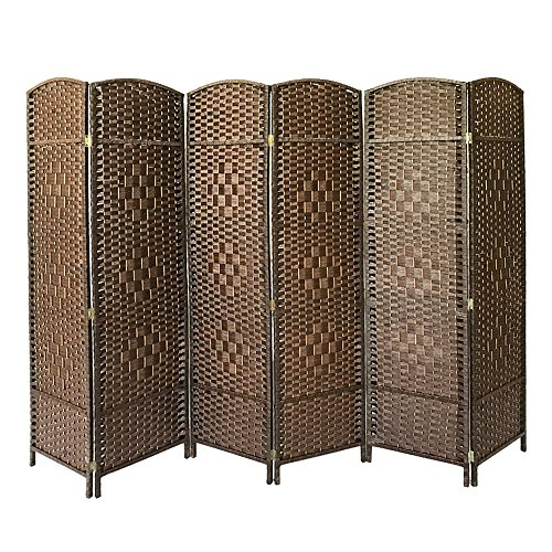 Panana Folding Splitter Screen Hand Made Wicker Room Divider Protective Screens,Various Size&Color (Brown, 6 Panel)