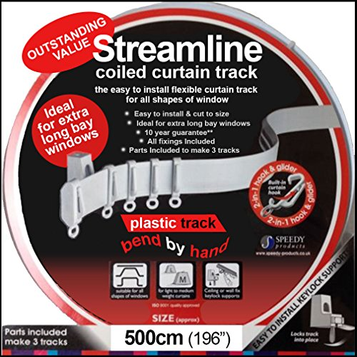 Speedy 5 m Bendable Curtain Track for Straight & Bay Window Rail, Enough for 3 Standard Windows, Top or Face Fix All Fixings