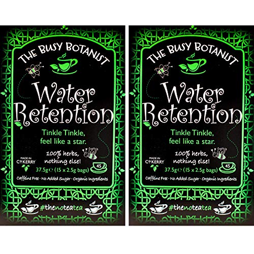 Water Retention Herbal Detox Tea with Nettle, Dandelion and Burdock Root - Helps Reduce Bloating and Swollen Joints - Caffeine Free, Decaffeinated - 2 x 15 Individual Tea Bags by The Busy Botanist