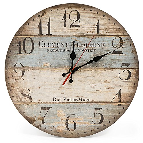 LOHAS Home 30cm Silent Wooden Round Wall Clock Vintage Rustic Chic Style Arabic Numerals Wooden Round Decorative Wall Clock (Victor Hugo)