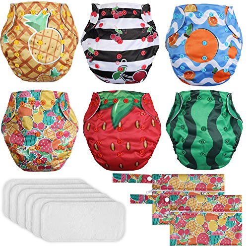 Lictin Washable Potty Training Pants - 6PCS Reusable Cloth Nappies Adjustable Pocket Nappy Diaper, 6PCS Bamboo Nappy Inserts with 2 Storage Bags, Suitable for Most Babies and Toddlers 3.6kg-16.3kg