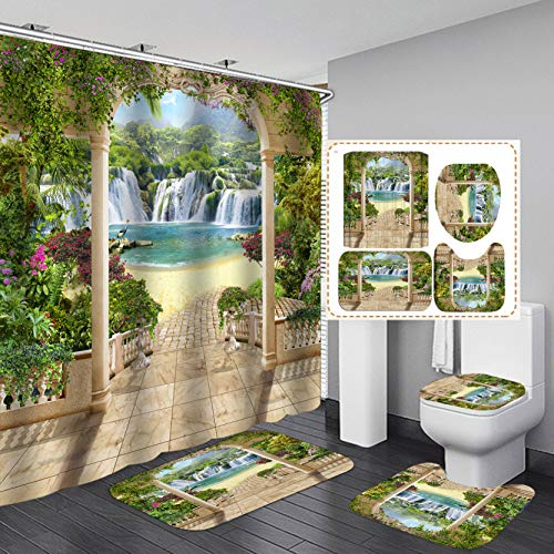 YUAOEUR Outside Garden Hallway View Nature Landscape Shower Curtain 4 Pieces Waterfall Flowing Down to Green Pond Flowers and Trees Landscape Print Bathroom Decor Curtain with Rugs and Bath Mat