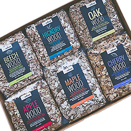 Wood Smoking Chips Collection. 6 x 500g packs in Apple, Beech, Cherry, Hickory, Maple and Oak