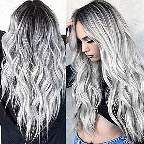 TGYHCJBY Silver Grey Gradient Wigs for Women with Roots Black Loose Wavy Curly Wig Use Party Show ,Halloween (Gray)
