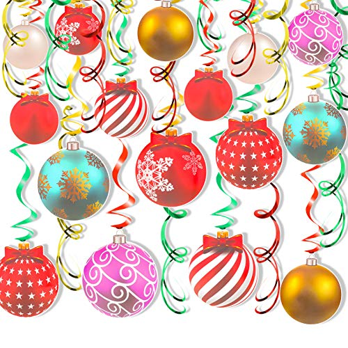 HOWAF Christmas Hanging Swirl Decorations, 30pcs Colorful Christmas Baubles Balls Foil Spiral Streamers Ceiling Decorations for Christmas New Year Party Decoration Supplies Xmas