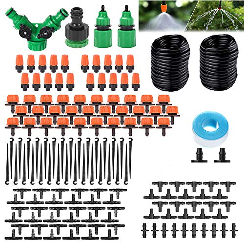DONGQI Irrigation System Garden, 30M Bewässerungsrohre Kit, Irrigation System Drip Irrigation, 149 Pieces DIY Micro System, Automatic Sprinkler Droplet Garden Watering for Plant
